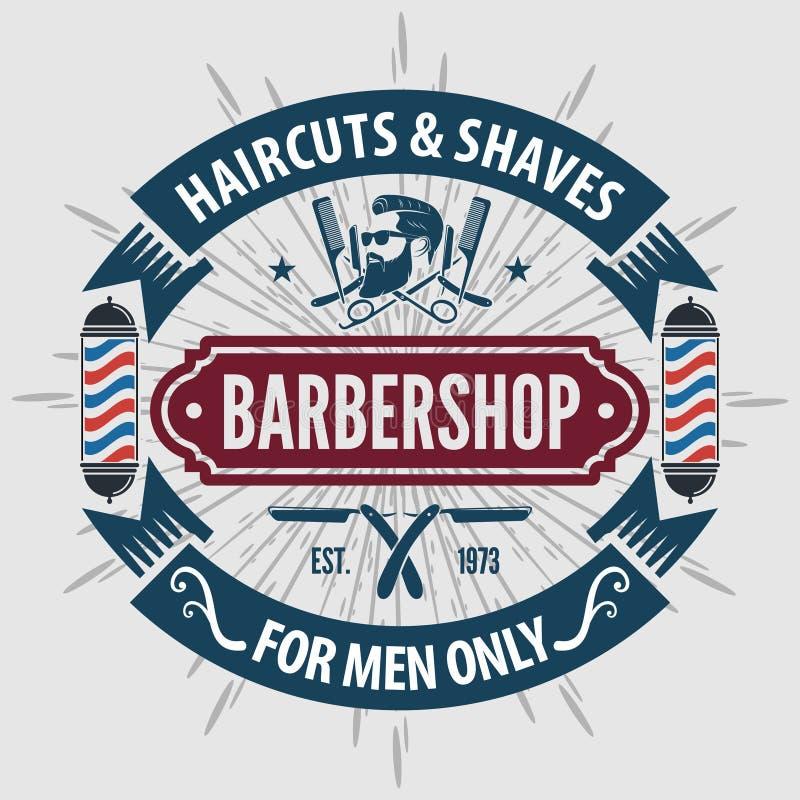 Αφίσα, έμβλημα, ετικέτα, διακριτικό, ή έμβλημα Barbershop στο γκρίζο υπόβαθρο με τον πόλο κουρέων στο εκλεκτής ποιότητας ύφος επί απεικόνιση αποθεμάτων