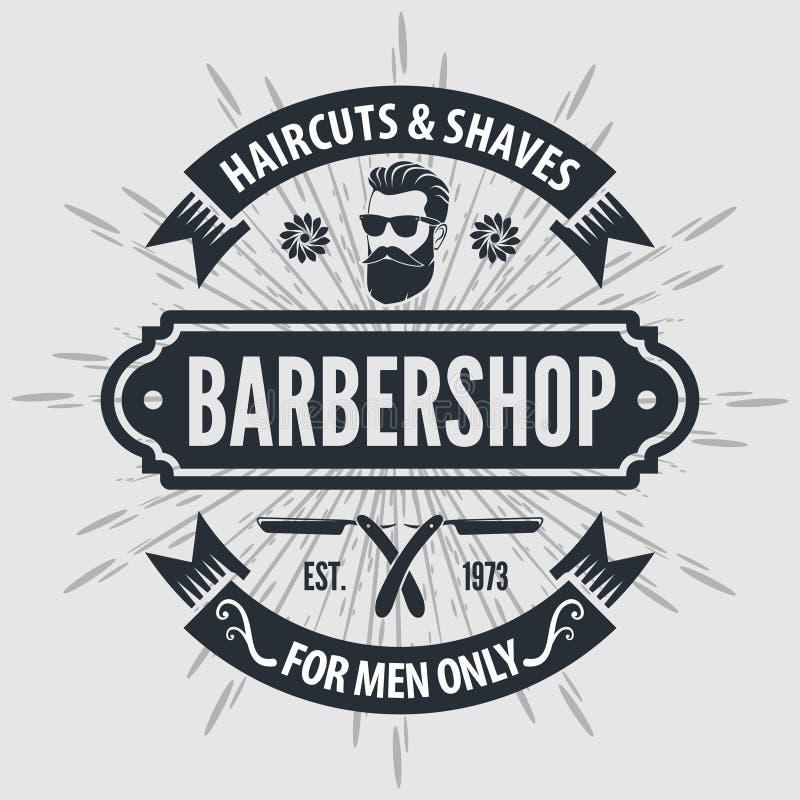 Αφίσα, έμβλημα, ετικέτα, διακριτικό, ή έμβλημα Barbershop στο γκρίζο υπόβαθρο με τον πόλο κουρέων στο εκλεκτής ποιότητας ύφος επί διανυσματική απεικόνιση