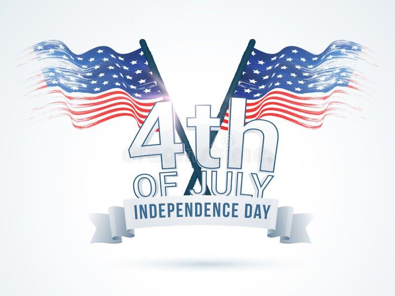 Αφίσα, έμβλημα ή ιπτάμενο για τον εορτασμό την 4η Ιουλίου διανυσματική απεικόνιση