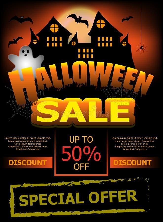 Αφίσα ή έμβλημα προτύπων πώλησης αποκριών Κάθετο υπόβαθρο με το φάντασμα, το κάστρο και τα ρόπαλα διάνυσμα ελεύθερη απεικόνιση δικαιώματος