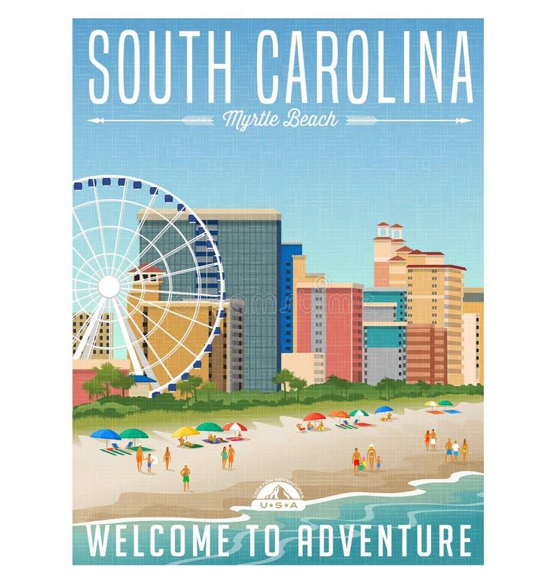 Αφίσα ή αυτοκόλλητη ετικέττα ταξιδιού της νότιας Καρολίνας ελεύθερη απεικόνιση δικαιώματος