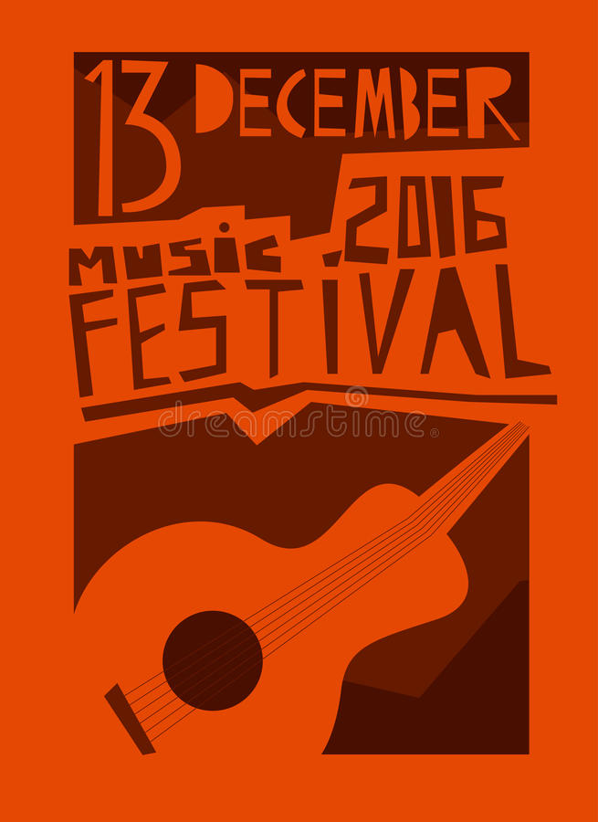 Αφίσα ή ιπτάμενο γεγονότος με την ακουστική κιθάρα απεικόνιση αποθεμάτων