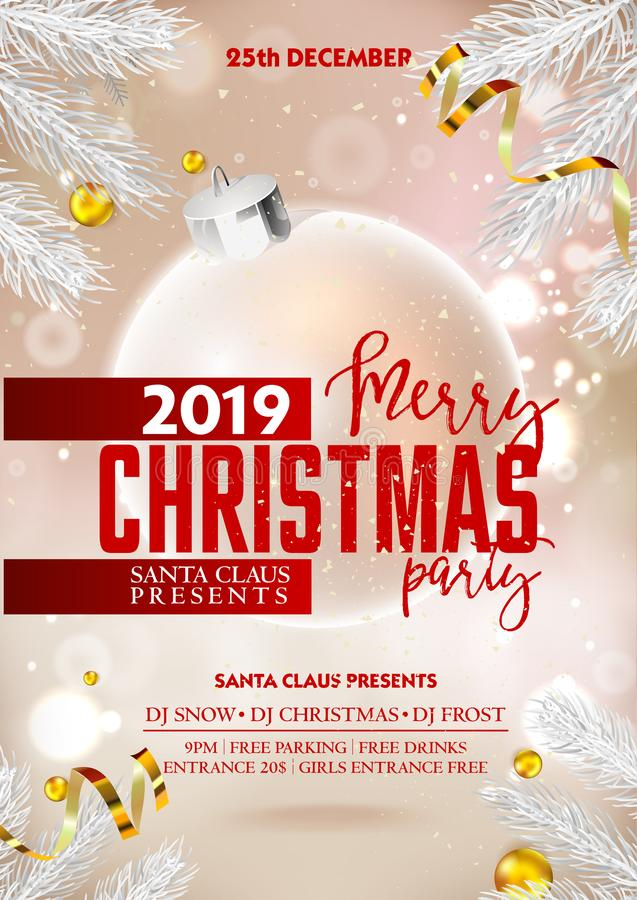 Αφίσα ή ιπτάμενο κομμάτων Χαρούμενα Χριστούγεννας με τις σφαίρες και τις κορδέλλες διακοσμήσεων Χριστουγέννων απεικόνιση αποθεμάτων