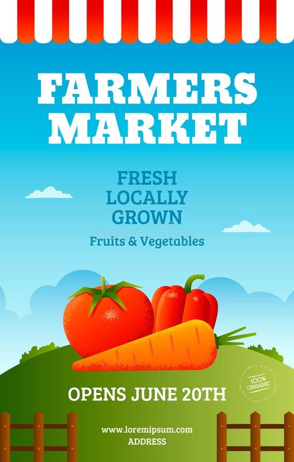 Αφίσα αγοράς αγροτών διανυσματική απεικόνιση