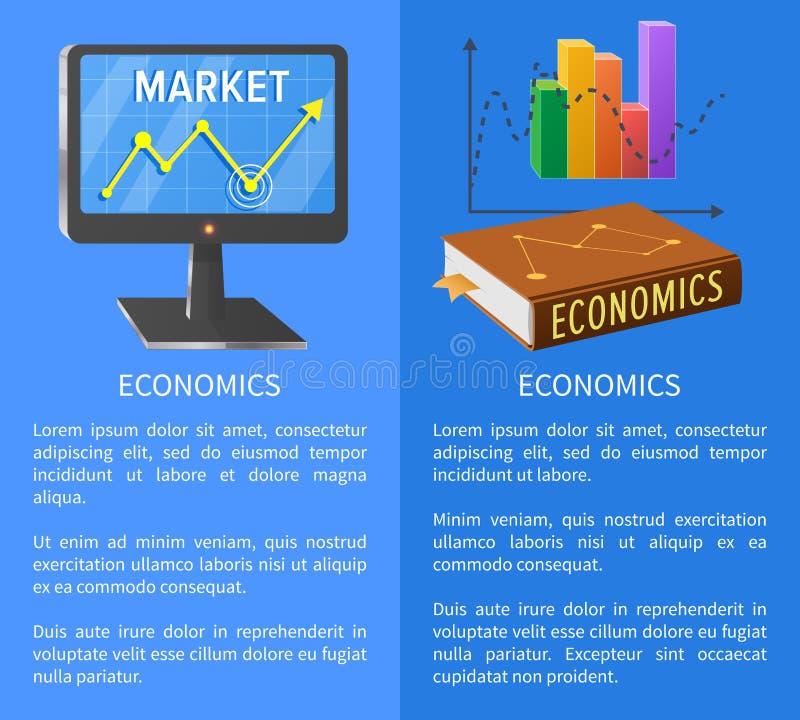 Αφίσα αγοράς οικονομικών με την οθόνη που παρουσιάζει βέλος διανυσματική απεικόνιση