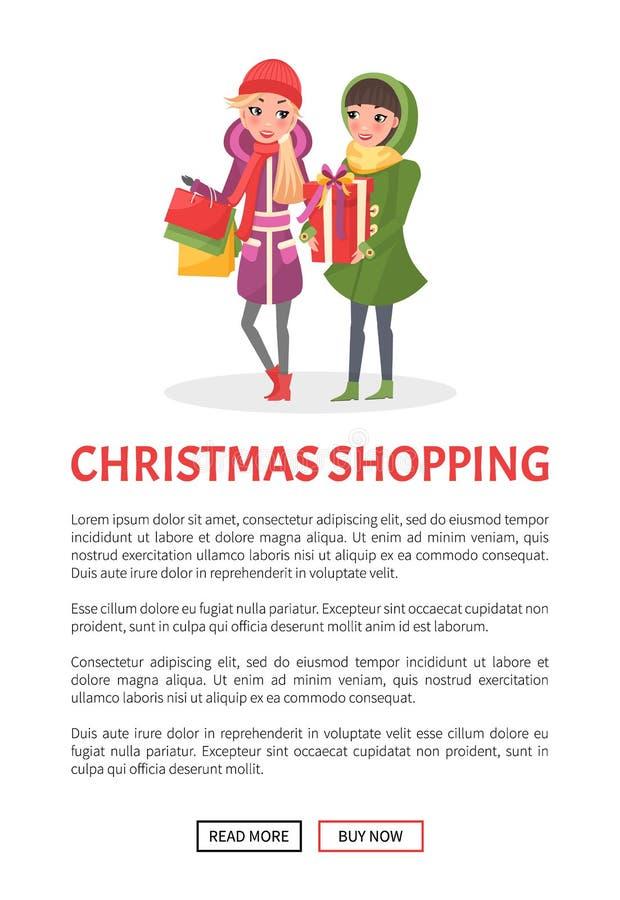 Αφίσα αγορών Χριστουγέννων, θερμό χειμερινό ύφασμα γυναικών απεικόνιση αποθεμάτων