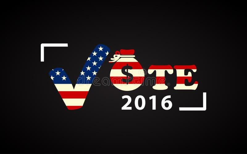 2016 αφίσα ΑΜΕΡΙΚΑΝΙΚΩΝ προεδρικών εκλογών με την τσάντα χρημάτων απεικόνιση αποθεμάτων