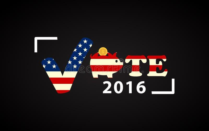 Αφίσα ΑΜΕΡΙΚΑΝΙΚΩΝ 2016 προεδρικών εκλογών με τη piggy τράπεζα ελεύθερη απεικόνιση δικαιώματος