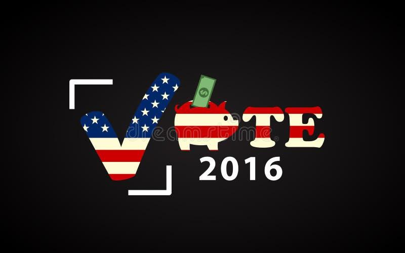 Αφίσα ΑΜΕΡΙΚΑΝΙΚΩΝ 2016 προεδρικών εκλογών με τη piggy τράπεζα διανυσματική απεικόνιση