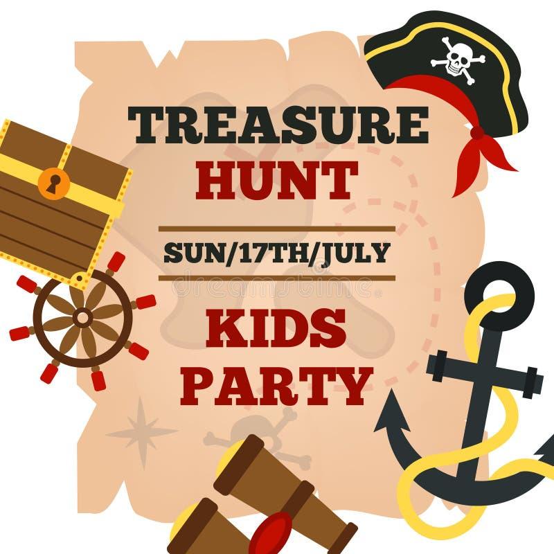 Αφίσα ανακοίνωσης κομμάτων παιδιών πειρατών απεικόνιση αποθεμάτων