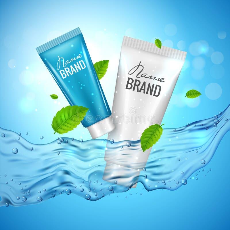 Αφίσα απεικόνισης διαφήμισης προϊόντων καλλυντικών Διανυσματικό καλλυντικό σχέδιο μπουκαλιών skincare με το νερό απεικόνιση αποθεμάτων