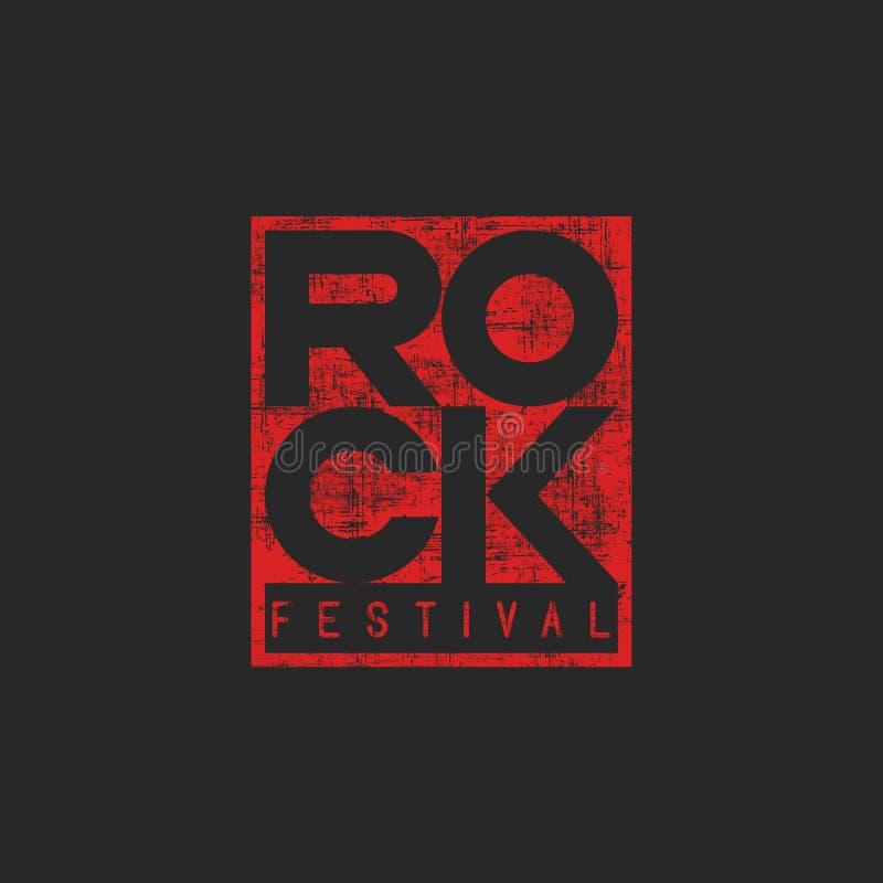 Αφίσα βράχου λέξης, μουσική τυπωμένη ύλη μπλουζών προτύπων grunge, πρότυπο εισιτηρίων εμβλημάτων διανυσματική απεικόνιση