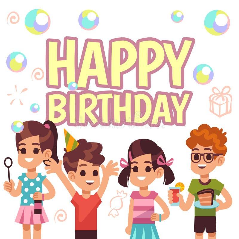 Αφίσα γενεθλίων παιδιών Παιδιά στο κόμμα εορτασμού Διανυσματικό υπόβαθρο πρόσκλησης διανυσματική απεικόνιση
