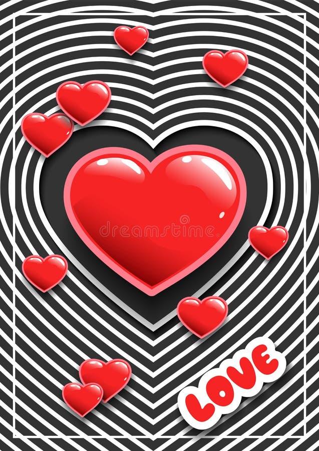 Αφίσα για την ημέρα ή τους γάμους του βαλεντίνου με τις καρδιές Αυτοκόλλητες ετικέττες για ένα κόμμα χαιρετισμός καλή χρονιά καρτ απεικόνιση αποθεμάτων