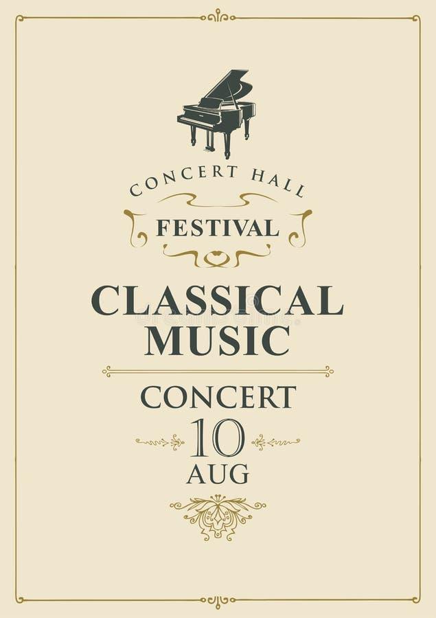 Αφίσα για τη συναυλία της κλασικής μουσικής με το πιάνο διανυσματική απεικόνιση