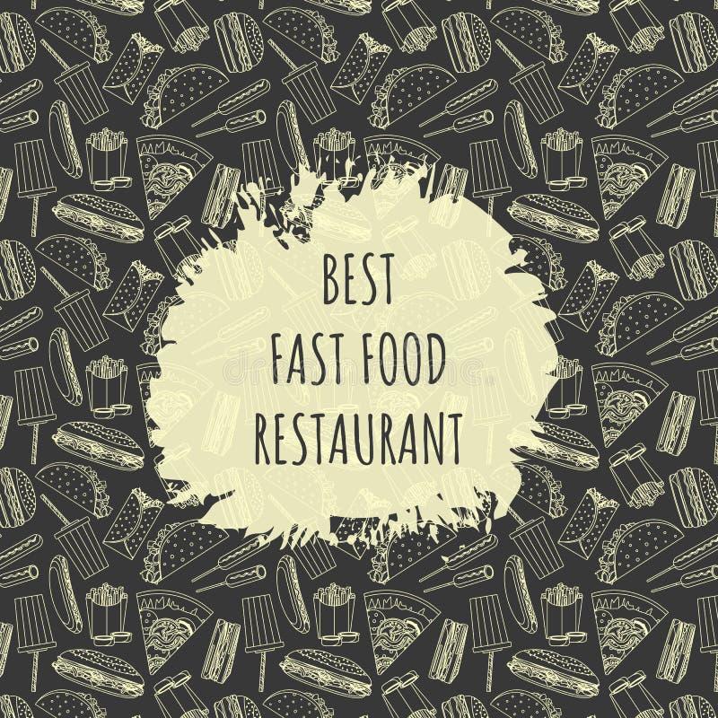 Αφίσα για το εστιατόριο γρήγορου φαγητού με το σχέδιο γρήγορου γεύματος και θέση για το όνομα ελεύθερη απεικόνιση δικαιώματος