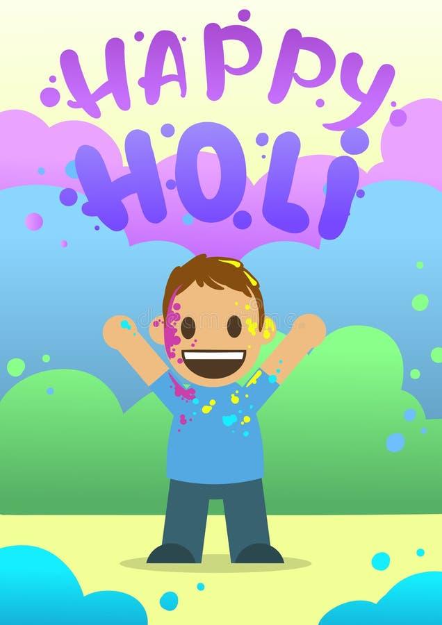 Αφίσα για το φεστιβάλ των χρωμάτων Holi στο επίπεδο ύφος Το αγόρι ρίχνει το χρώμα επίσης corel σύρετε το διάνυσμα απεικόνισης απεικόνιση αποθεμάτων