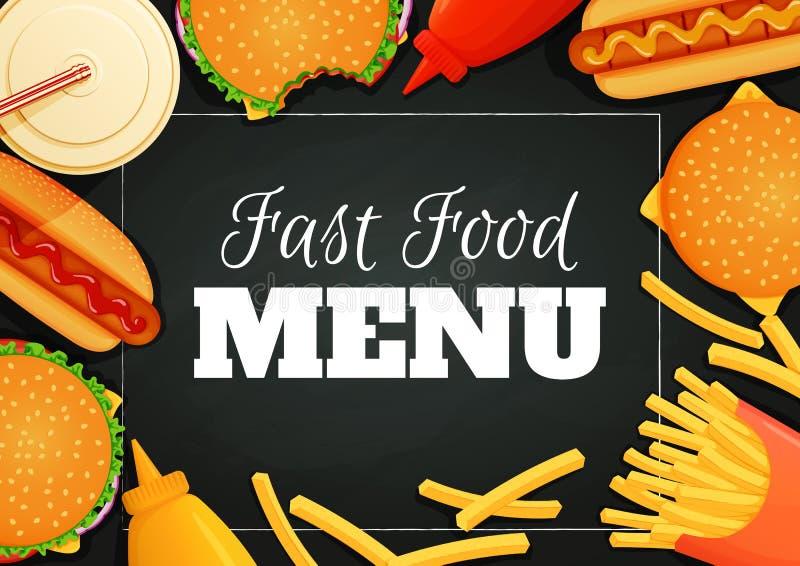 Αφίσα γρήγορου φαγητού, έμβλημα, πρότυπο επιλογών Burgers, χοτ-ντογκ, κέτσαπ, μουστάρδα, τηγανιτές πατάτες και ποτό σε ένα σκοτει απεικόνιση αποθεμάτων