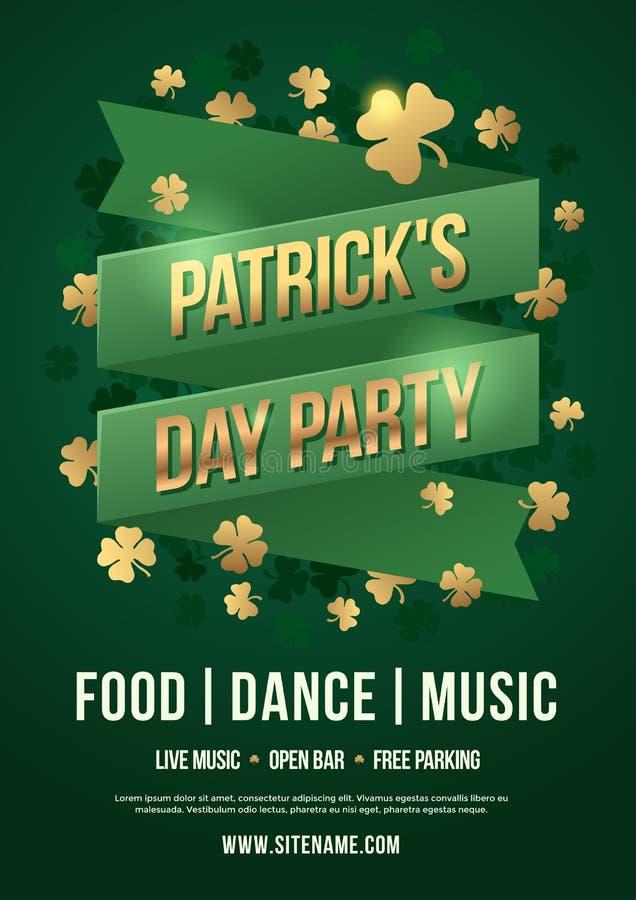 Αφίσα διακοπών για να γιορτάσει την ημέρα του ST Πάτρικ ` s Πράσινη ταινία με την επιγραφή: Κόμμα ημέρας του Πάτρικ ` s και χρυσά διανυσματική απεικόνιση