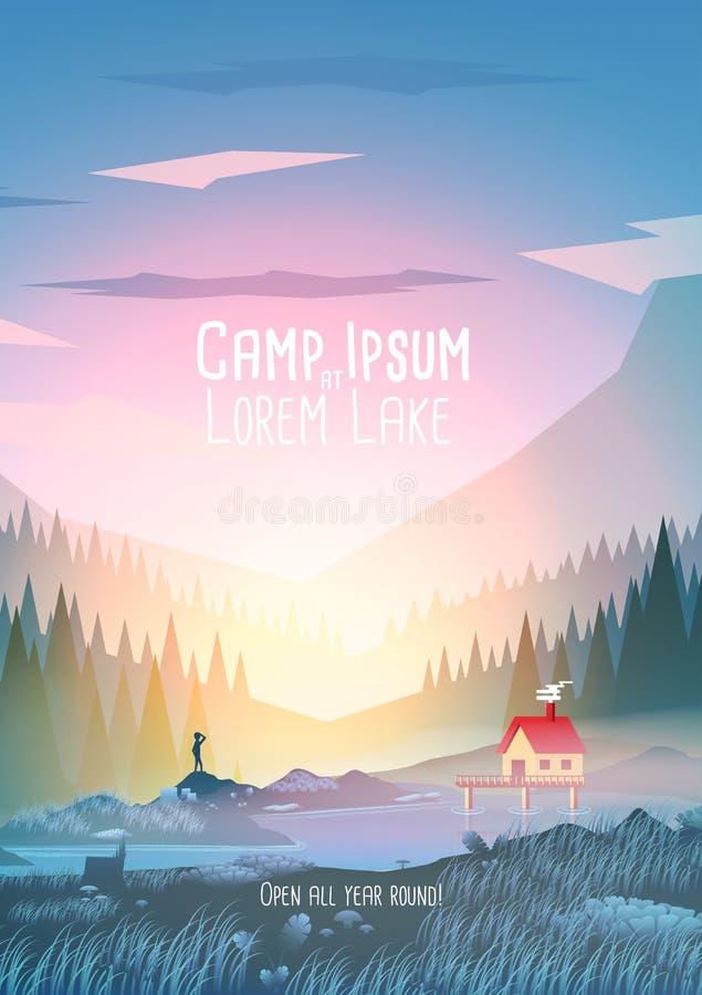 Αφίσα διακοπών καλοκαιρινό εκπαιδευτικό κάμπινγκ με τη λίμνη βουνών - διανυσματικό Illustra απεικόνιση αποθεμάτων