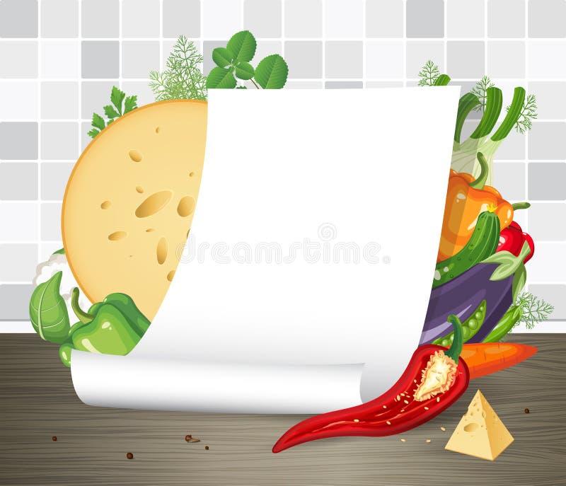Αφίσα εγγράφου ή κύλινδρος περγαμηνής με τα λαχανικά Επιλογές εστιατορίων ή πρότυπο συνταγής Κενό κατσαρωμένο κενό φύλλο εγγράφου διανυσματική απεικόνιση