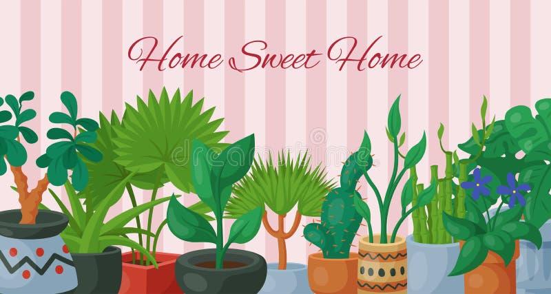 Αφίσα εγχώριων γλυκιά σπιτιών με σπιτιών διανυσματική απεικόνιση ανθοκομίας λουλουδιών την εσωτερική Κηπουρική διακοσμήσεων φύσης διανυσματική απεικόνιση