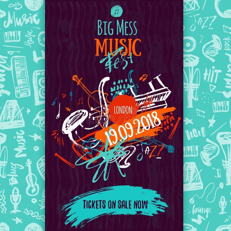Αφίσα, εισιτήριο ή πρόγραμμα μουσικής της Jazz Συρμένη χέρι απεικόνιση με τα κτυπήματα βουρτσών για το φεστιβάλ τζαζ διανυσματική απεικόνιση