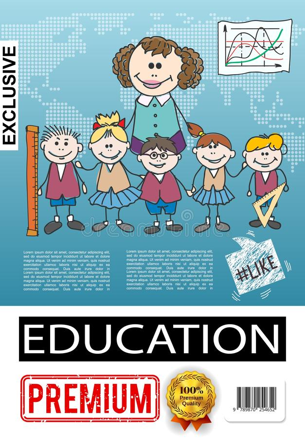 Αφίσα εκπαίδευσης δημοτικού σχολείου σκίτσων διανυσματική απεικόνιση