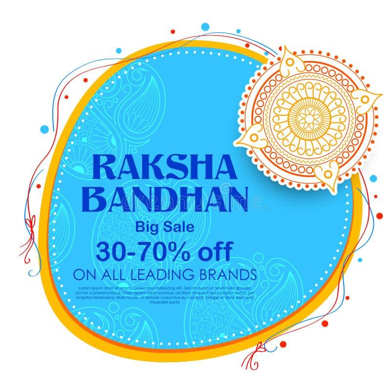 Αφίσα εμβλημάτων πώλησης και προώθησης με διακοσμητικό Rakhi για Raksha Bandhan, το ινδικό φεστιβάλ του αδελφού και τη σύνδεση αδ απεικόνιση αποθεμάτων