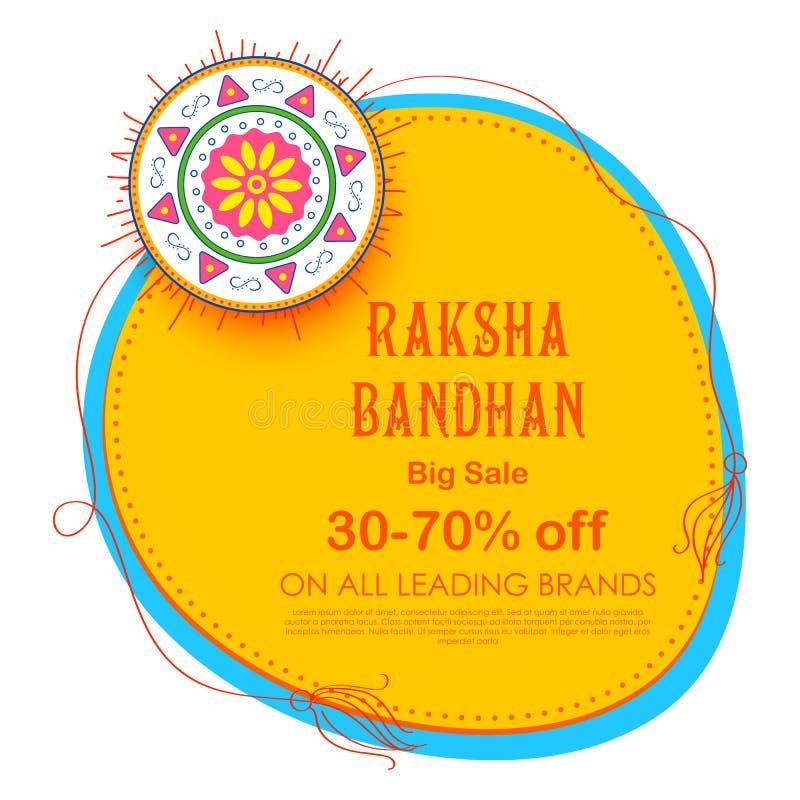 Αφίσα εμβλημάτων πώλησης και προώθησης με διακοσμητικό Rakhi για Raksha Bandhan, το ινδικό φεστιβάλ του αδελφού και τη σύνδεση αδ διανυσματική απεικόνιση