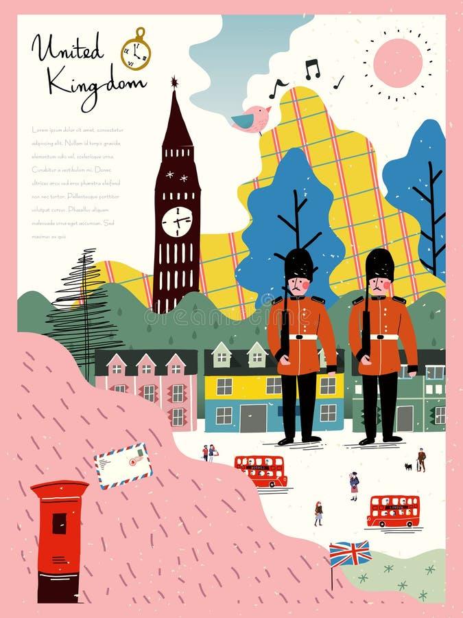 Αφίσα εντύπωσης Ηνωμένου ταξιδιού ελεύθερη απεικόνιση δικαιώματος