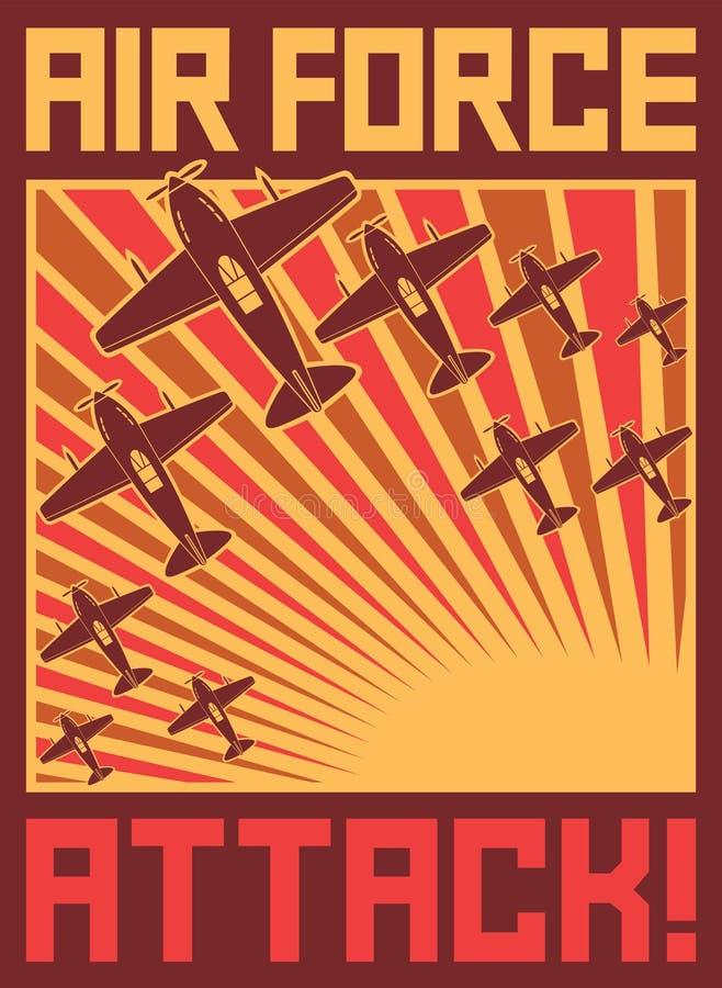 Αφίσα επίθεσης Πολεμικής Αεροπορίας απεικόνιση αποθεμάτων