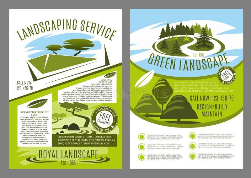 Αφίσα επιχείρησης παροχής υπηρεσιών εξωραϊσμού και κηπουρικής διανυσματική απεικόνιση