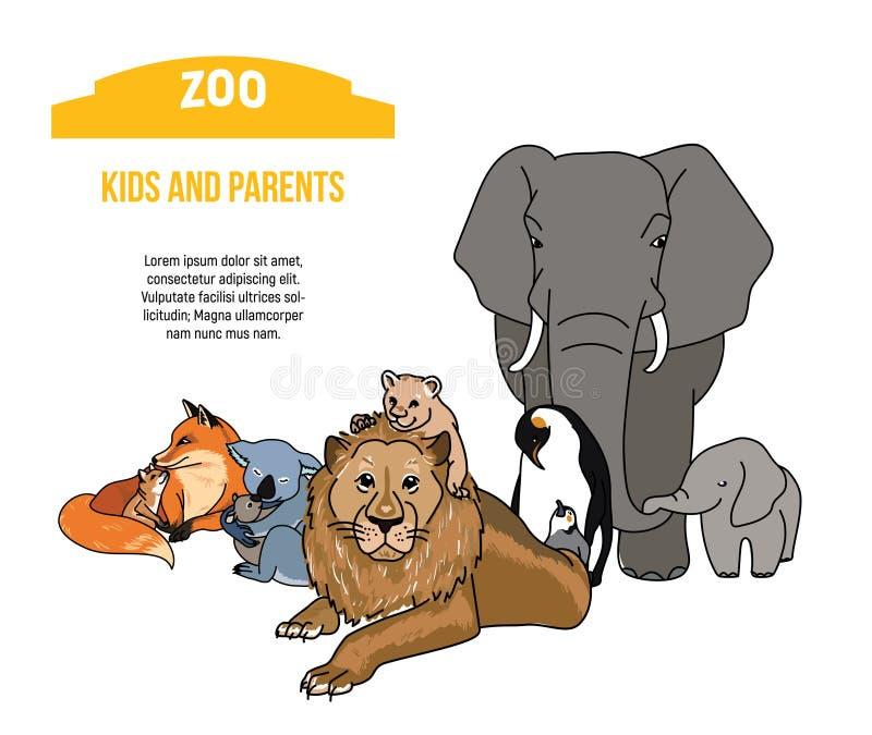 Αφίσα ζωολογικών κήπων με τα ζώα παιδιών και γονέων απεικόνιση αποθεμάτων