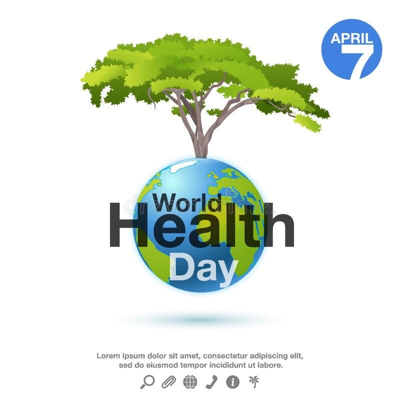 Αφίσα ημέρας παγκόσμιας υγείας ή υπόβαθρο εμβλημάτων με τον πλανήτη και το πράσινο δέντρο απεικόνιση αποθεμάτων