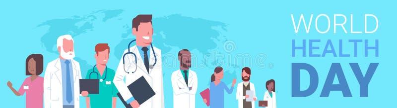 Αφίσα ημέρας παγκόσμιας υγείας με την ομάδα των ιατρών πέρα από το οριζόντιο έμβλημα υποβάθρου παγκόσμιων χαρτών διανυσματική απεικόνιση