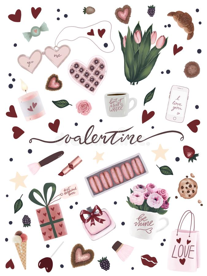Αφίσα ημέρας του μοναδικού βαλεντίνου με τη συρμένη χέρι τέχνη βαλεντίνων, λουλούδι, φλυτζάνι καφέ, καρδιά, αστέρι, καραμέλα σοκο απεικόνιση αποθεμάτων