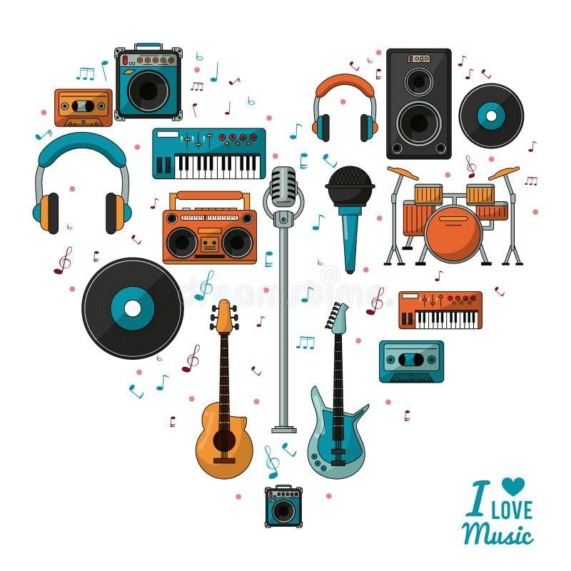 Αφίσα ι μουσική αγάπης με τη ζωηρόχρωμη σκιαγραφία των μουσικών οργάνων και των συσκευών αναπαραγωγής ήχου ελεύθερη απεικόνιση δικαιώματος