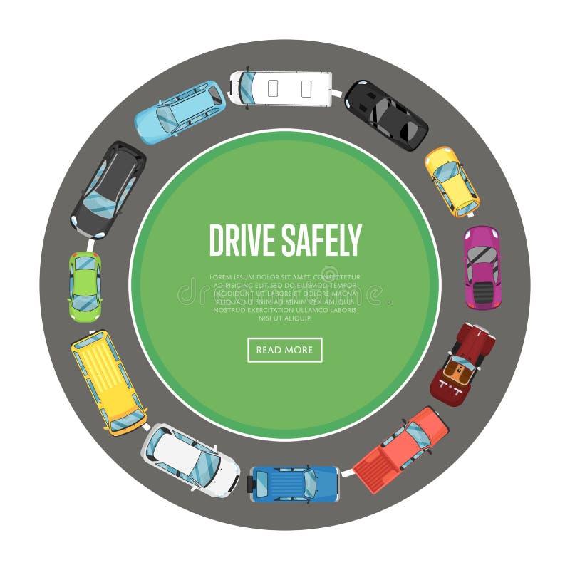 Αφίσα κίνησης ακίνδυνα στο επίπεδο ύφος απεικόνιση αποθεμάτων