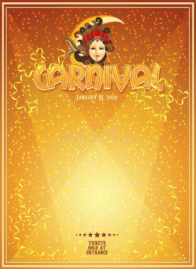 Αφίσα καρναβαλιού με τη φωτεινή επιγραφή, σπινθηρίσματα, ελεύθερη θέση για το κείμενο διανυσματική απεικόνιση
