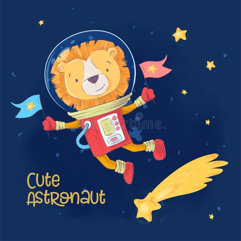 Αφίσα καρτών του χαριτωμένου αστροναύτη leon στο διάστημα με τους αστερισμούς και τα αστέρια στο ύφος κινούμενων σχεδίων Σχέδιο χ απεικόνιση αποθεμάτων