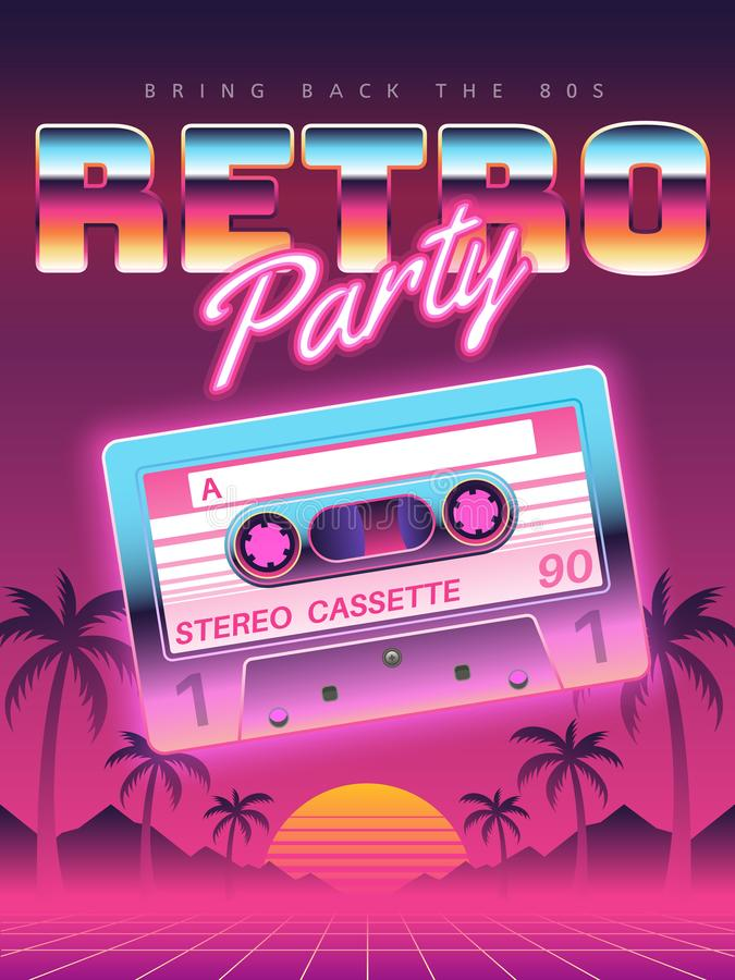 Αφίσα κασετών Η αναδρομική δεκαετία του '80 κομμάτων disco, έμβλημα της δεκαετίας του '90, εκλεκτής ποιότητας ακουστικό ιπτάμενο  ελεύθερη απεικόνιση δικαιώματος