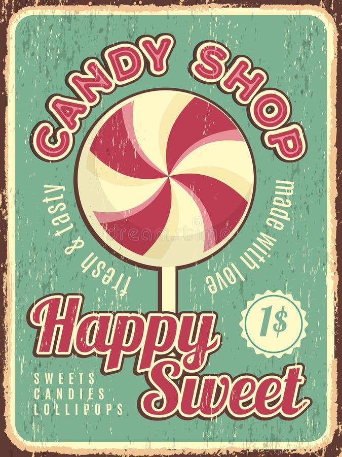 Αφίσα καταστημάτων καραμελών Αναδρομική αφίσσα βιομηχανιών ζαχαρωδών προϊόντων με το διάνυσμα γλυκών dulce με τη θέση για το κείμ διανυσματική απεικόνιση