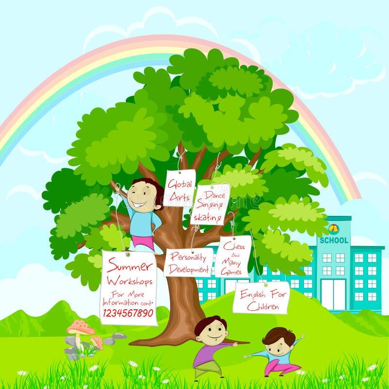Αφίσα καλοκαιρινό εκπαιδευτικό κάμπινγκ ελεύθερη απεικόνιση δικαιώματος