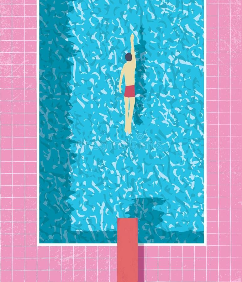 αφίσα καλοκαιρινών διακοπών ύφους της δεκαετίας του '80 με τον κολυμβητή στην πισίνα Ρόδινα φορεμένα grunge κεραμίδια και σύσταση ελεύθερη απεικόνιση δικαιώματος