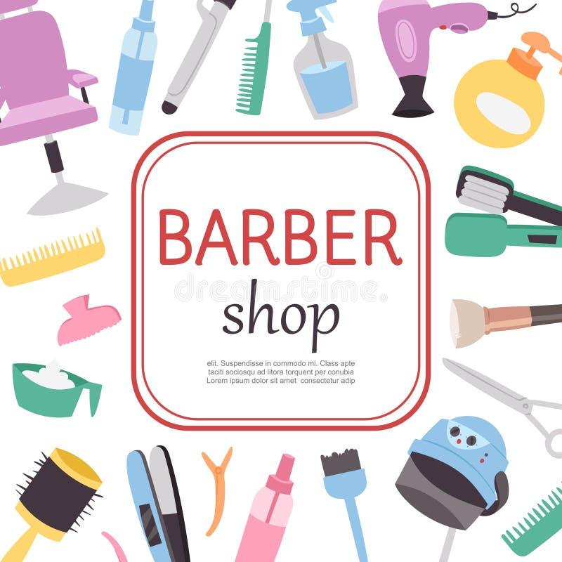 Αφίσα κινούμενων σχεδίων καταστημάτων κουρέων, πρότυπο εργαλείων εργασίας κουρέων με το κείμενό σας Καρέκλα Barbershop, βούρτσες  διανυσματική απεικόνιση