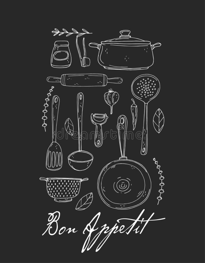 Αφίσα κουζινών με συρμένο το χέρι σκεύος για την κουζίνα, το καρύκευμα και την εγγραφή σε έναν πίνακα κιμωλίας απεικόνιση αποθεμάτων