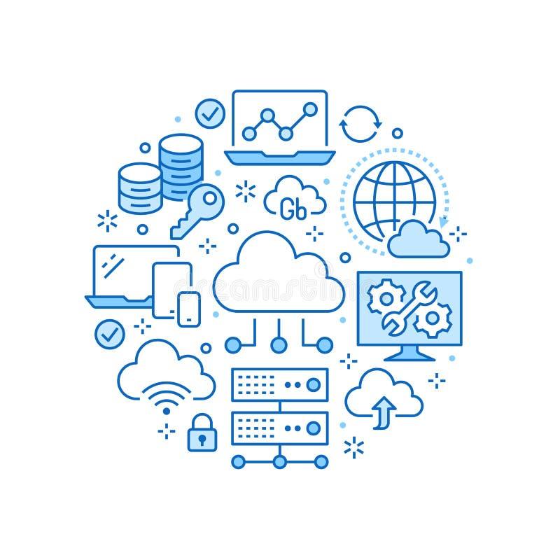 Αφίσα κύκλων αποθήκευσης στοιχείων σύννεφων με τα εικονίδια γραμμών Υπόβαθρο βάσεων δεδομένων, πληροφορίες, κέντρο κεντρικών υπολ διανυσματική απεικόνιση