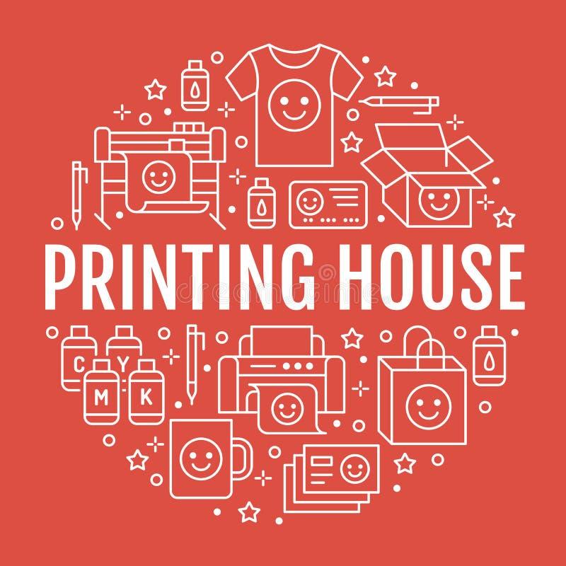 Αφίσα κύκλων σπιτιών εκτύπωσης με τα επίπεδα εικονίδια γραμμών Εξοπλισμός καταστημάτων τυπωμένων υλών - εκτυπωτής, ανιχνευτής, αν ελεύθερη απεικόνιση δικαιώματος