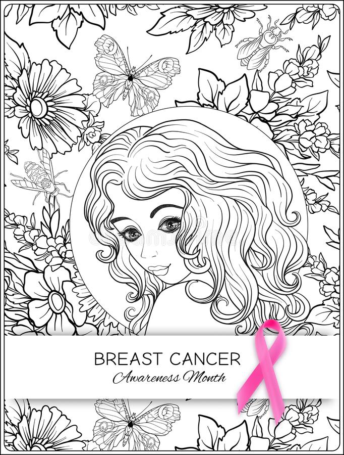 Αφίσα μήνα συνειδητοποίησης καρκίνου του μαστού με τη ρόδινη κορδέλλα και το πορτρέτο γυναικών ελεύθερη απεικόνιση δικαιώματος